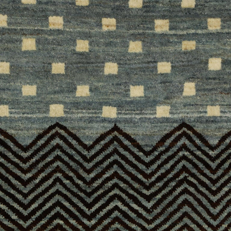 Contemporary Blue and Cream Wool Persian Carpet with Modern Design In New Condition For Sale In New York, NY