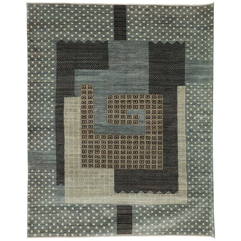 Contemporary Blue and Cream Wool Persian Carpet with Modern Design For Sale