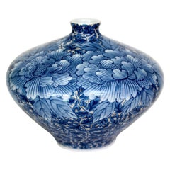 Blue and Hand Painted Japanese Porcelain Vase by Master Artist