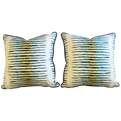 Contemporary Blue and Green Chevron Throw Pillows