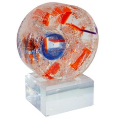Contemporary Blue and Orange Acrylic Sphere Sculpture