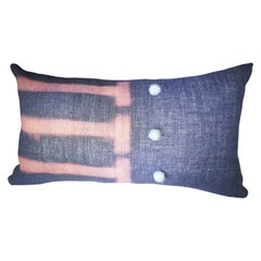 Contemporary Blue and Pink Decorative Wool Pillow