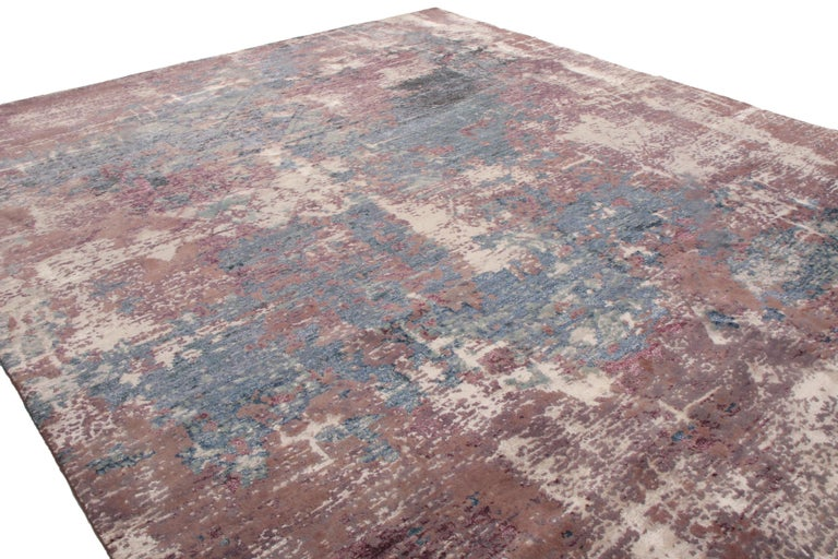 Indian Contemporary Blue and Purple Wool and Silk Rug For Sale