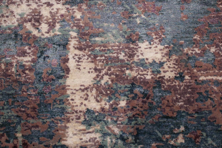 Hand-Knotted Contemporary Blue and Purple Wool and Silk Rug For Sale