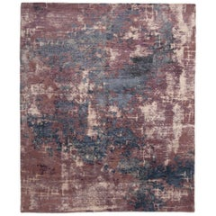 Contemporary Blue and Purple Wool and Silk Rug