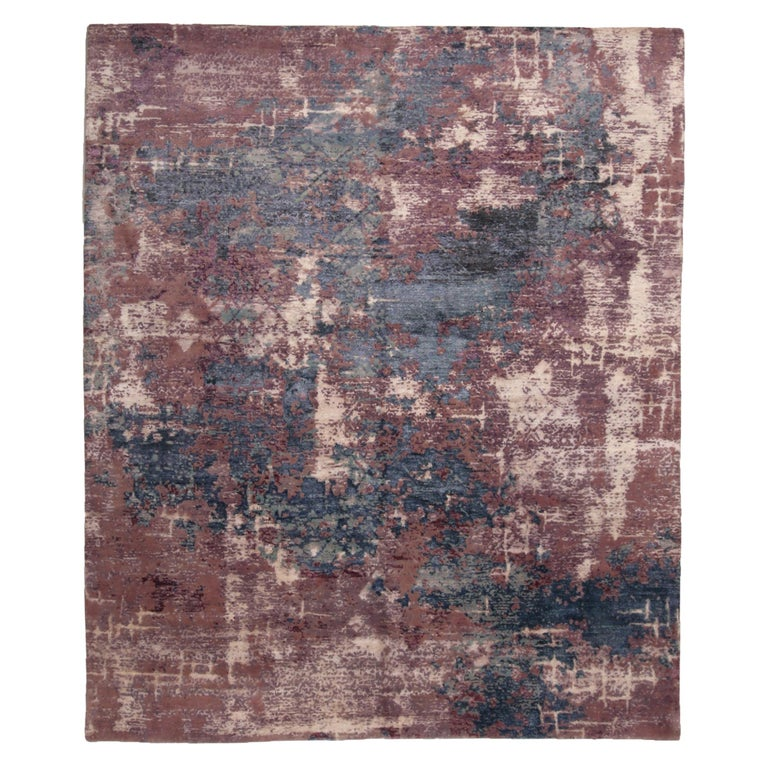 Contemporary Blue and Purple Wool and Silk Rug For Sale