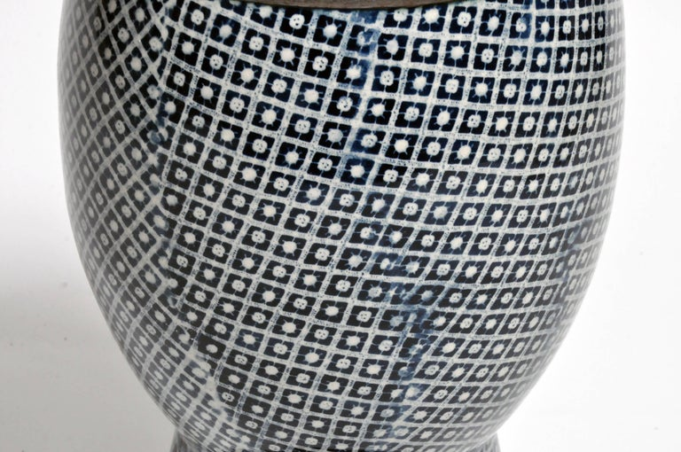 Contemporary Blue and White Ceramic Vases For Sale 9