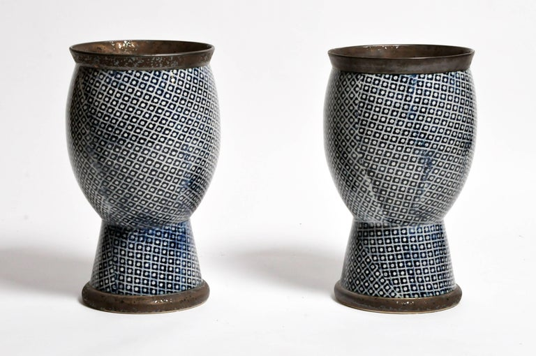 Contemporary Blue and White Ceramic Vases For Sale 11