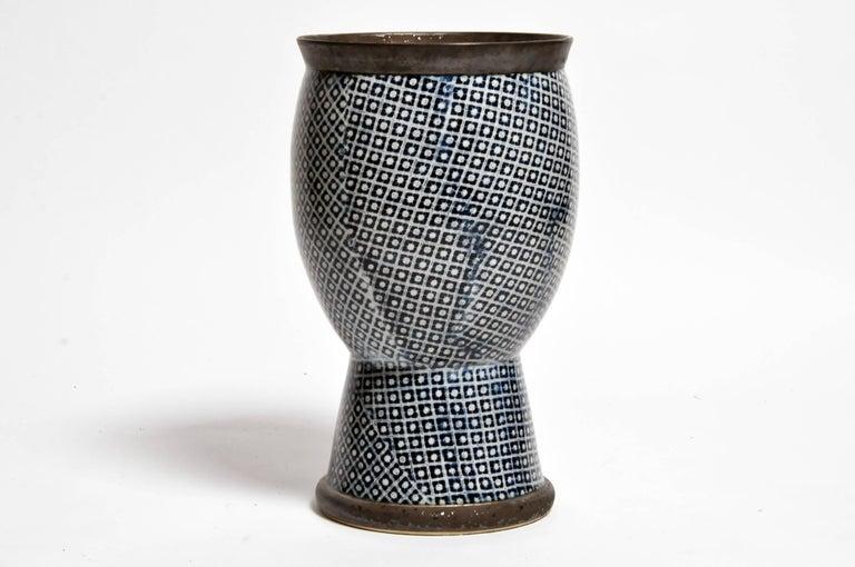 Thai Contemporary Blue and White Ceramic Vases For Sale
