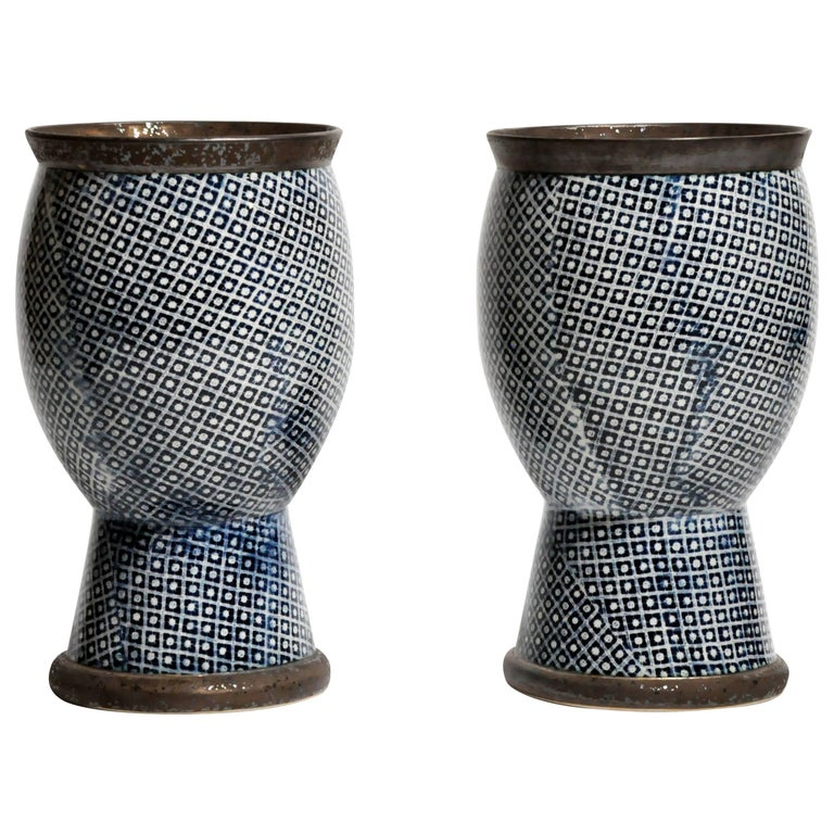 Contemporary Blue and White Ceramic Vases For Sale
