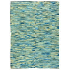 Contemporary Blue and White Flat-Woven Wool Kilim Rug