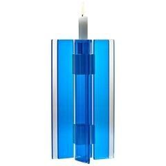 Contemporary Blue Glass and Aluminum Candlestick