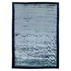 Contemporary Blue Hand Knotted Silk Rug