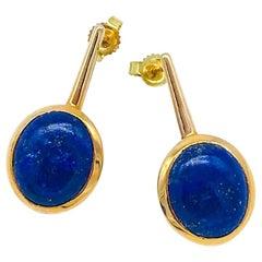 Contemporary, Blue Lapis Lazuli, Bezel Dangle Earring