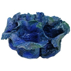 Contemporary Italian Blue Earthenware Sculpture