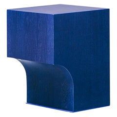 Contemporary Blue Oak Wood Stool or Side Table, Arch 01.1 MKI by Barh.Design