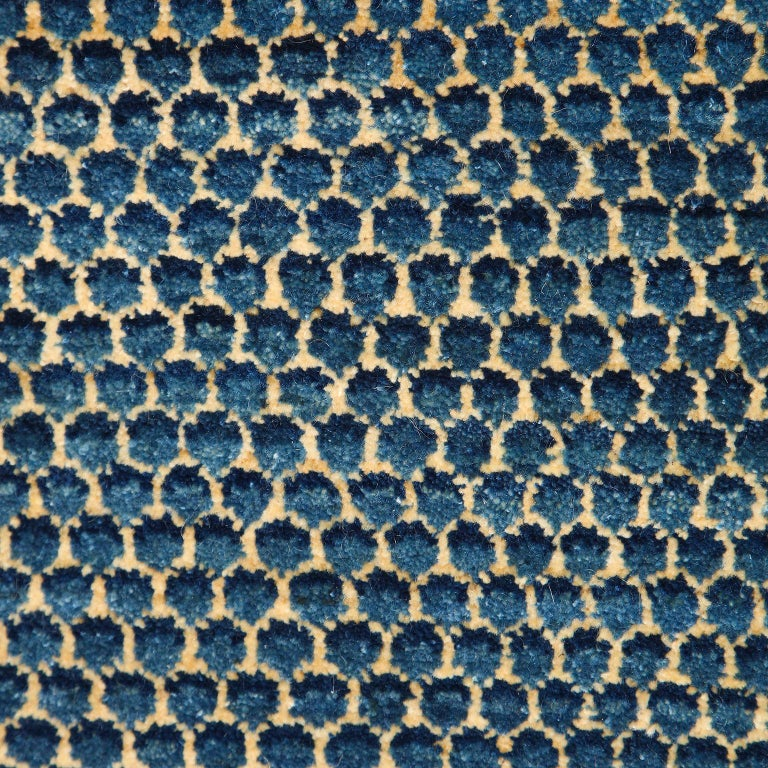 Vegetable Dyed Contemporary Blue Persian Carpet Runner,