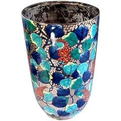 Contemporary Blue Platinum Porcelain Vase by Japanese Master Artist