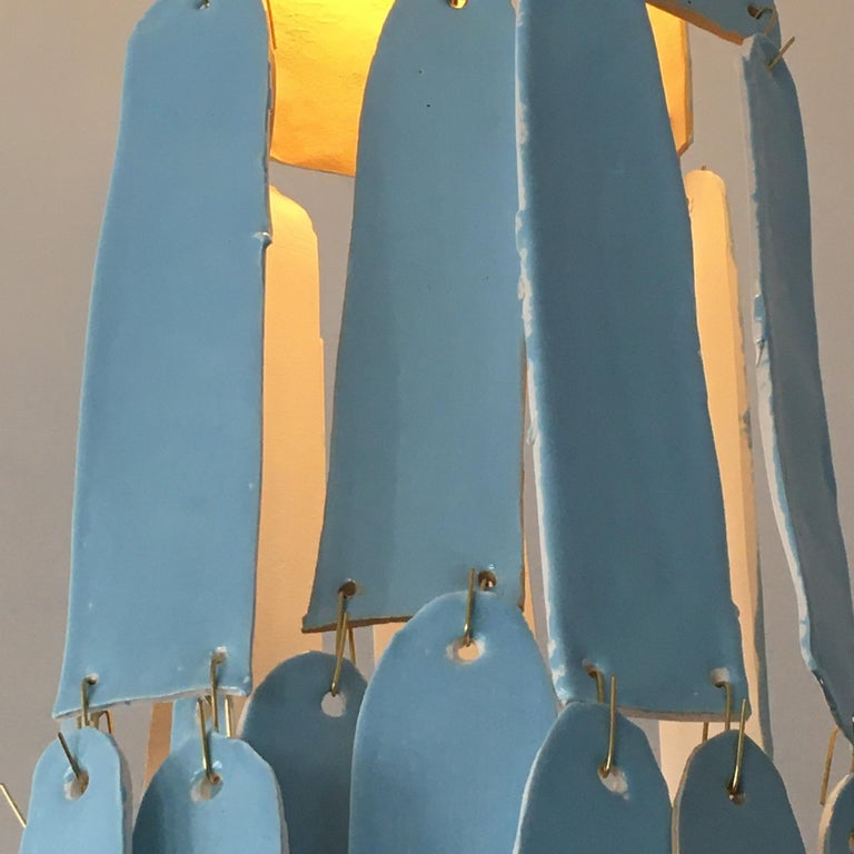 Hand-Crafted Contemporary Blue Porcelain Chandelier by Danish Artist Christine Roland  For Sale