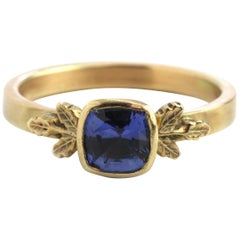 Contemporary Blue Sapphire Solitaire Ring