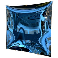 Contemporary Blue Square Curve Mirror, Italy
