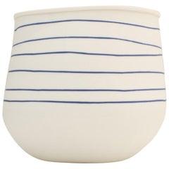 Contemporary  Blue Striped Ceramic Vase