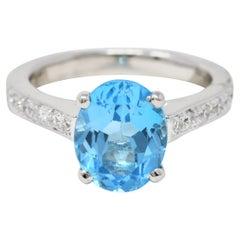 Contemporary Blue Topaz Diamond Platinum Gemstone Ring