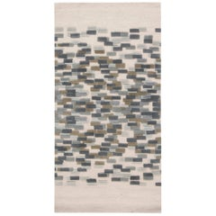 Contemporary Blue, White and Green Hand Knotted Wool Runner