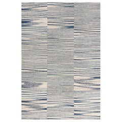 Contemporary Blue and White Handwoven Wool Flat-Weave