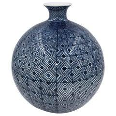 Contemporary Blue White Porcelain Vase by Japanese Master Artist