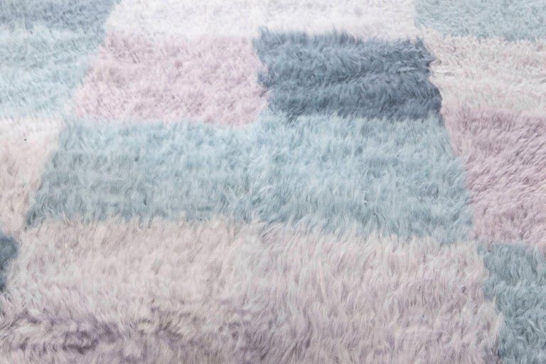 Hand-Woven Contemporary Bluebell Swedish Rya Design Rug in Blue and Purple For Sale