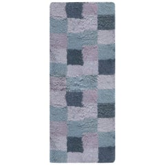 Contemporary Bluebell Swedish Rya Design Rug in Blue and Purple