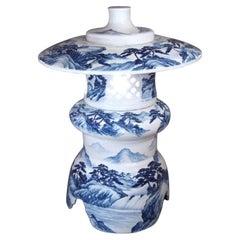 Contemporary BlueThree-Piece Porcelain Japanese Lantern by Master Artist