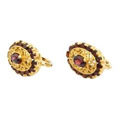 Contemporary Bohemian Red Garnet 18 Karat Yellow Gold Stud Earrings