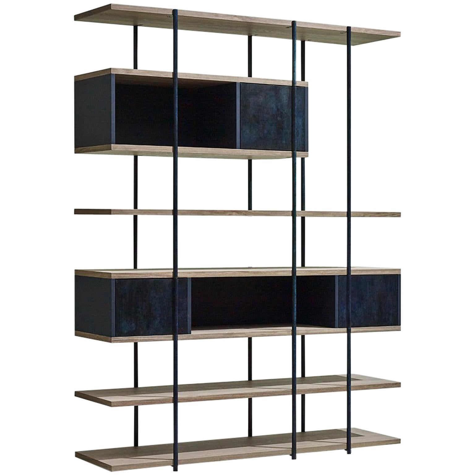 Contemporary Bookcase A Etched Brass Pivoting Doors And Stone Elm Shelves