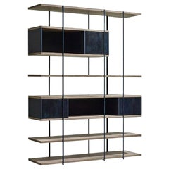 Contemporary Bookcase A, Etched Brass, Pivoting Doors and Stone Elm Shelves