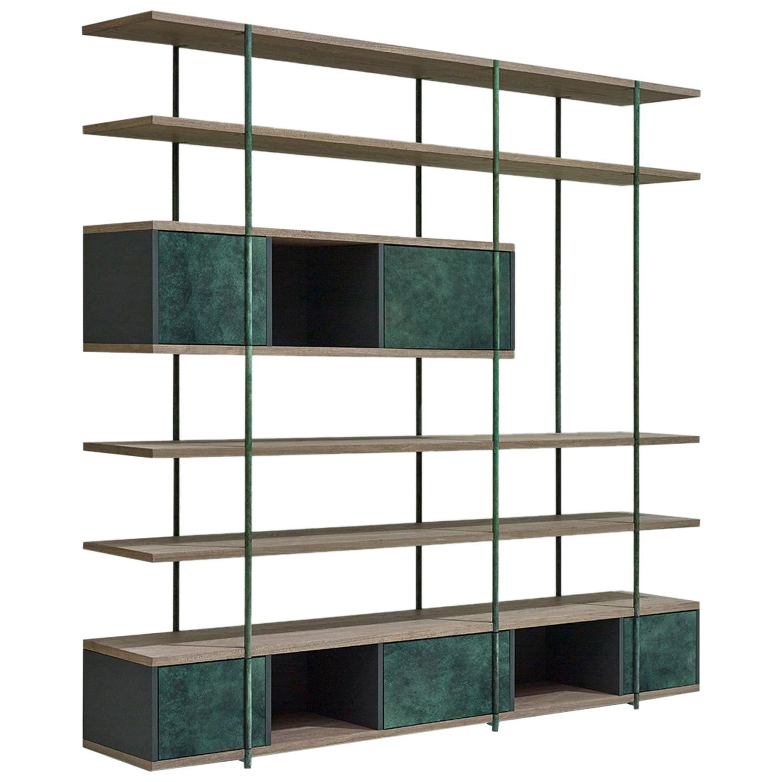 Contemporary Bookcase B Etched Brass Pivoting Doors And Stone Elm Shelves