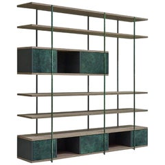 Contemporary Bookcase B, Etched Brass, Pivoting Doors and Stone Elm Shelves