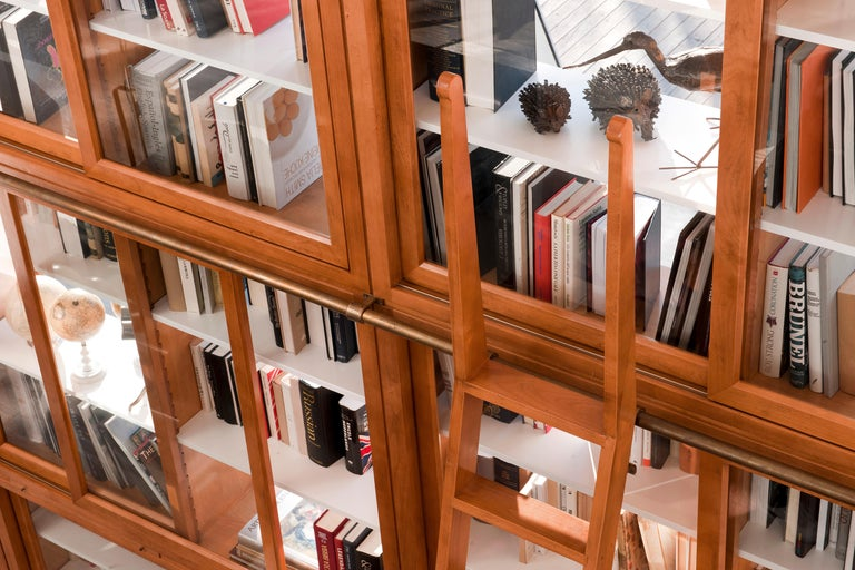 Contemporary Bookcase in Biedermeier Style, Sliding Doors, Made of Cherrywood For Sale 1