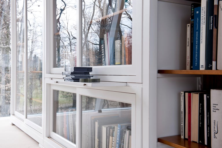 Contemporary Bookcase in Biedermeier Style, Sliding Doors, Made of Cherrywood For Sale 3