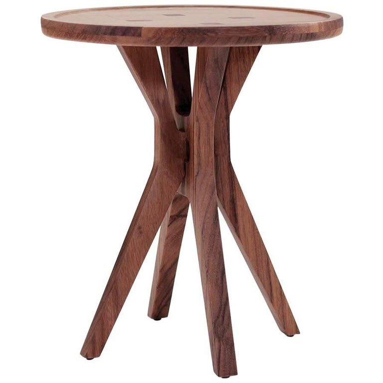 Contemporary Boton Two Side Table in Conacaste Solid Wood by Labrica