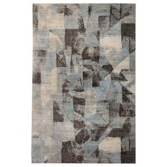 Contemporary Braque Dark Handmade Wool Rug in Gray, Blue, Ivory and Lilac