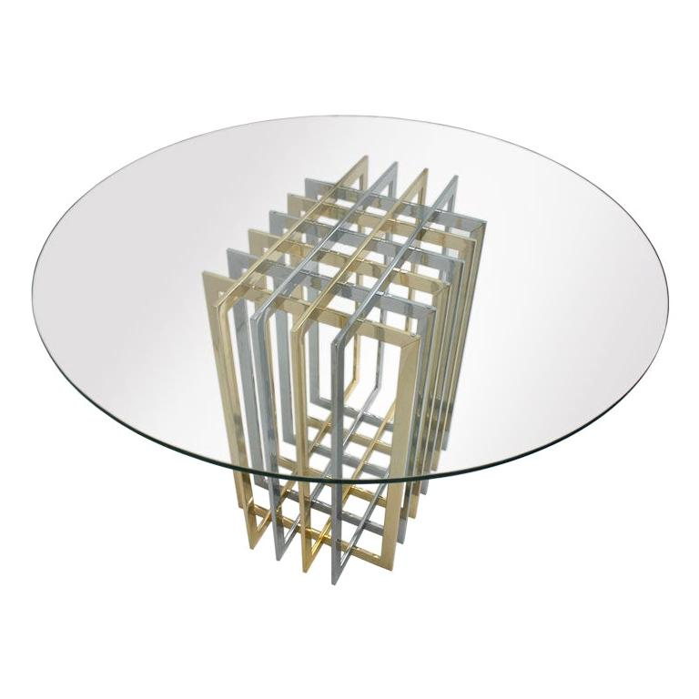 Contemporary Brass and Chrome Structure Glass Top Italian Table