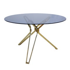 Contemporary Brass and Fumé Glass Circular Table, the Netherlands
