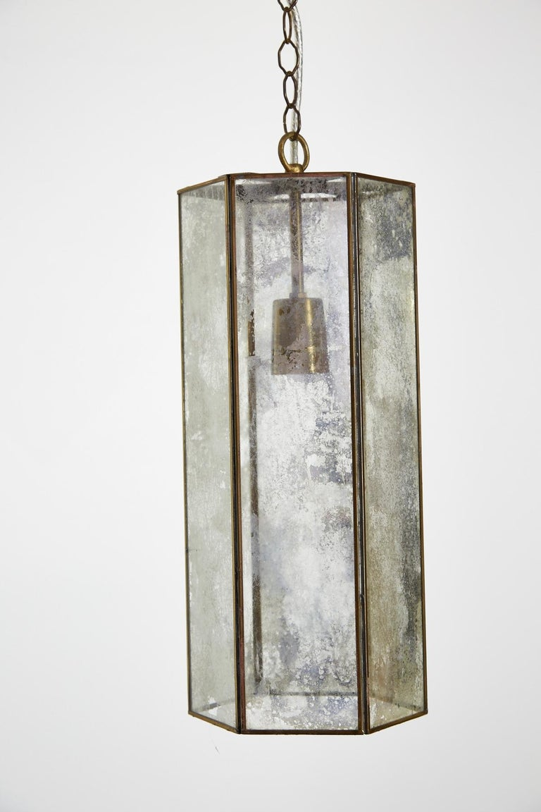 Contemporary Brass and Mercury Style Glass Pendant Lamp For Sale 4