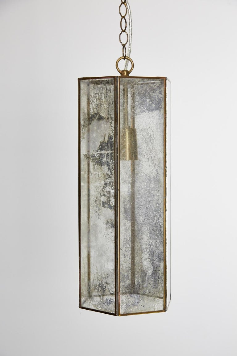 Contemporary Brass and Mercury Style Glass Pendant Lamp For Sale 5