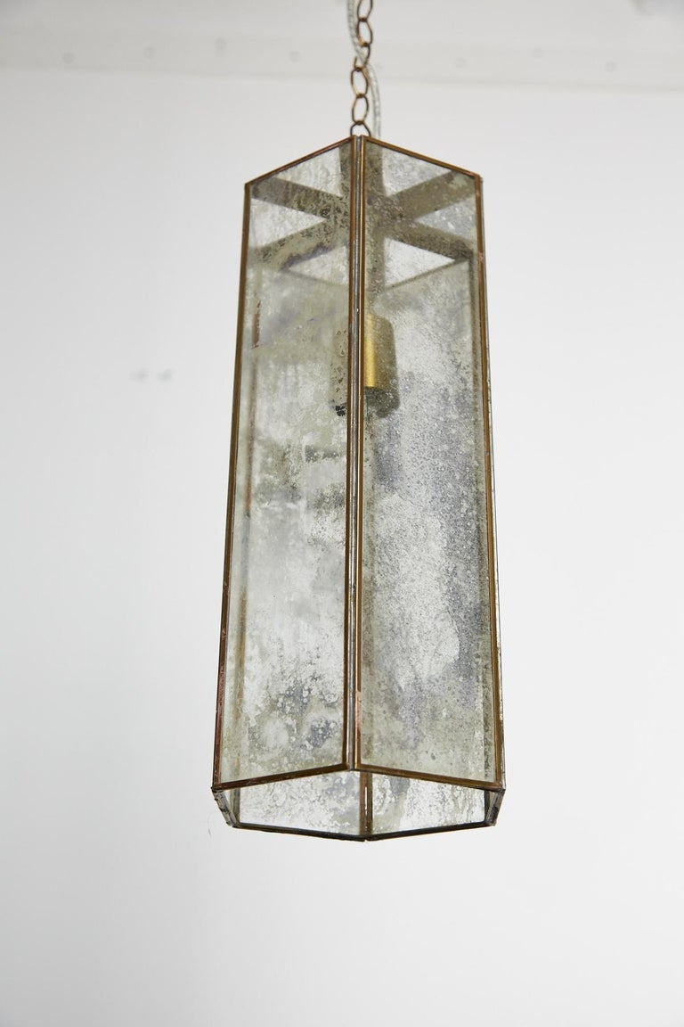 Hollywood Regency Contemporary Brass and Mercury Style Glass Pendant Lamp For Sale