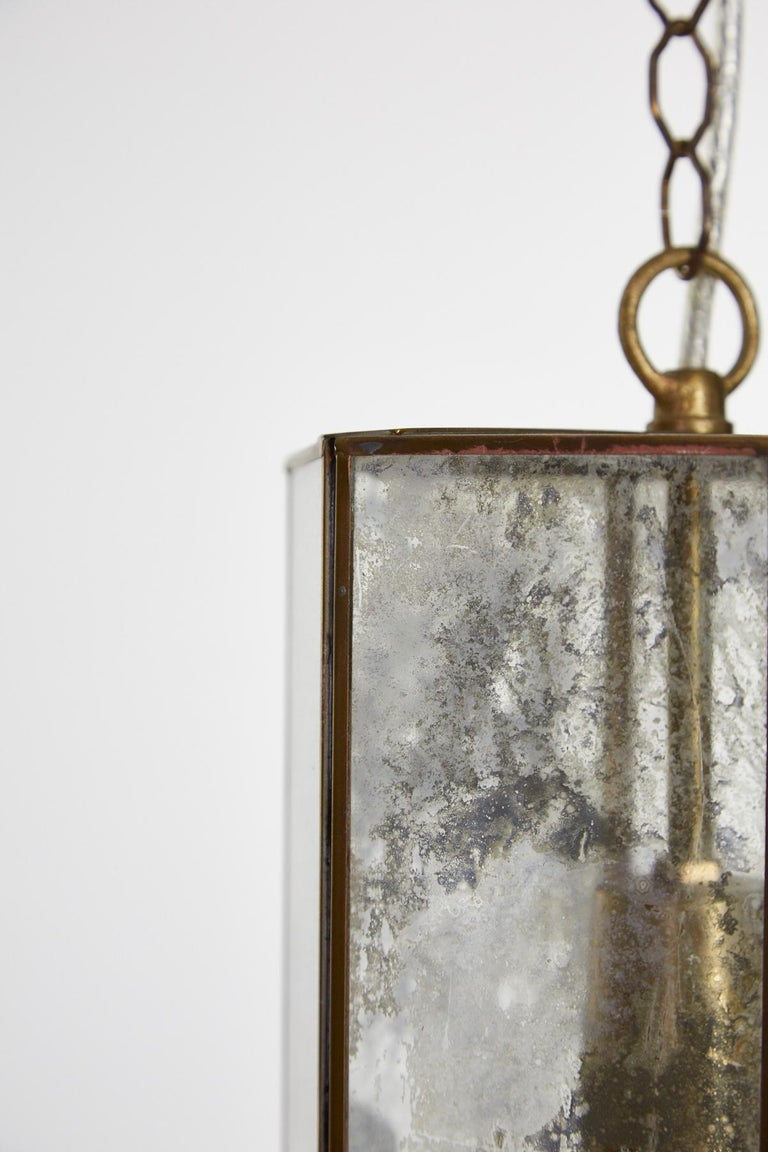 Contemporary Brass and Mercury Style Glass Pendant Lamp For Sale 2
