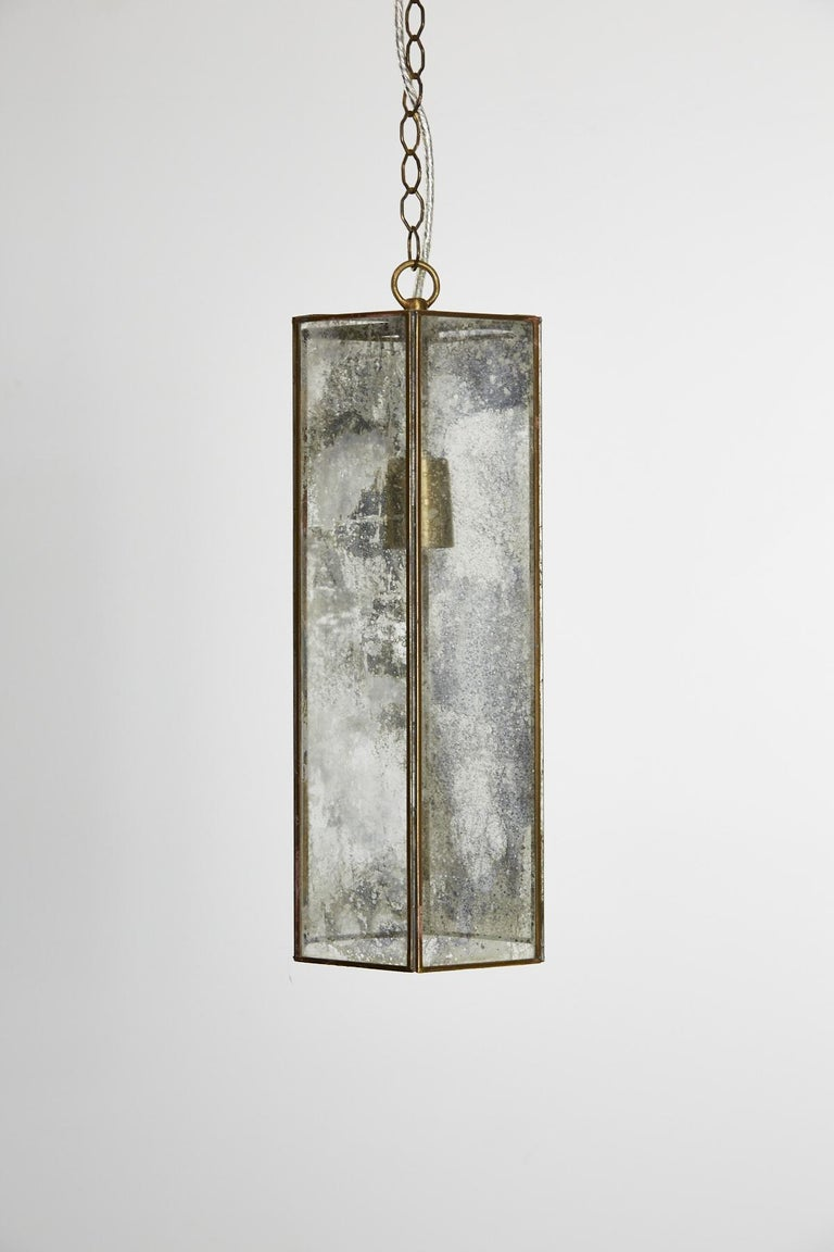 Contemporary Brass and Mercury Style Glass Pendant Lamp For Sale 3