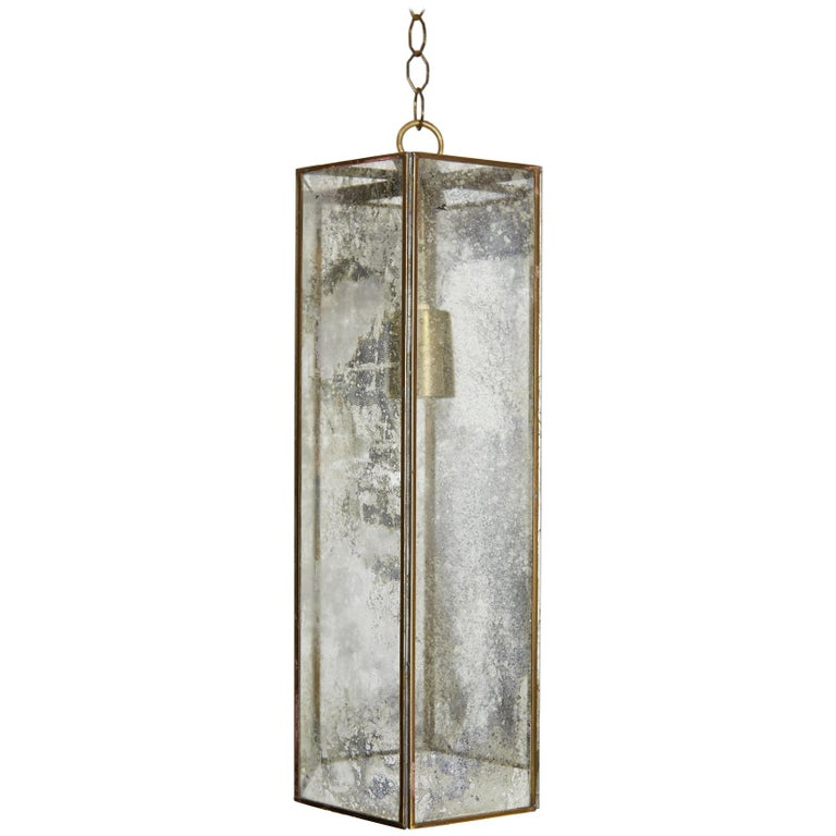 Contemporary Brass and Mercury Style Glass Pendant Lamp For Sale